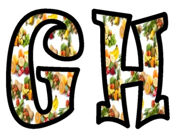 Fruits and Vegetables Bulletin Board Letters