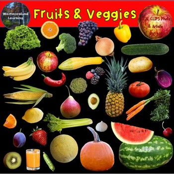 Fruits and Vegetables Clipart Photo & Artistic Digital Stickers Clip Art