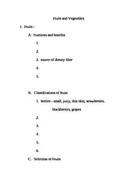 Fruits and Vegetables Outline (Worksheet)