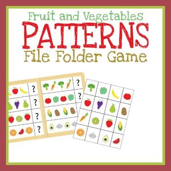 Fruits and Vegetables Patterns File Folder Game, Printable Worksheet, Activity