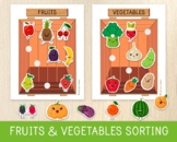 Fruits and Vegetables Sorting Activity, Busy Book Pages, W