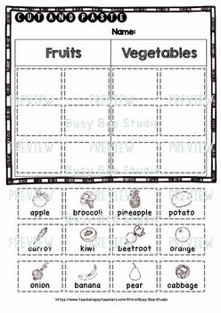 Fruits and Vegetables Sorts | Category Sort | Cut and Paste Worksheets