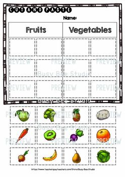 fruits and vegetables sorts category sort cut and paste worksheets. Black Bedroom Furniture Sets. Home Design Ideas