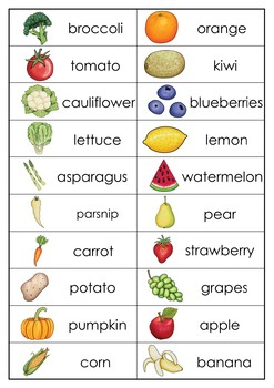 Fruits and Vegetables Spelling Words Practice