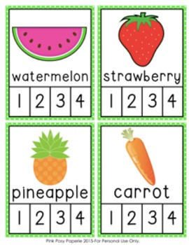 Fruits and Vegetables Syllables Count and  Clip Cards