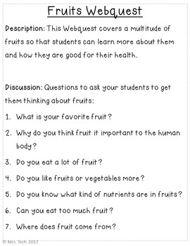 Fruits and Vegetables Webquest