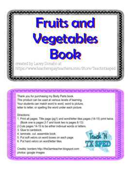 Fruits and Vegetables adapted book
