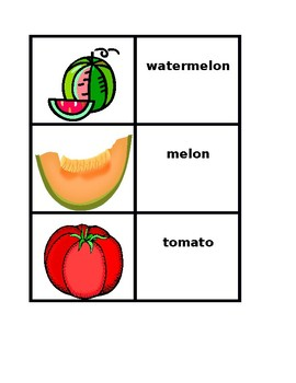 Fruits and Vegetables in English Concentration games