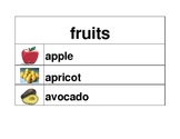 Fruits and Vegetables in English Word Wall
