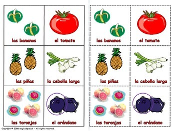 Fruits and Vegetables in Spanish. Lottery (Board game).