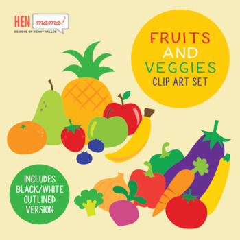 Fruits And Veggies Clip Art Set By Henmama Designs Tpt
