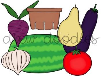 Fruits and Veggies Digital Clip Art Set
