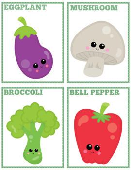Fruits & Veggies Flash Cards; Kindergarten; Preschool; Homeschool; Literacy