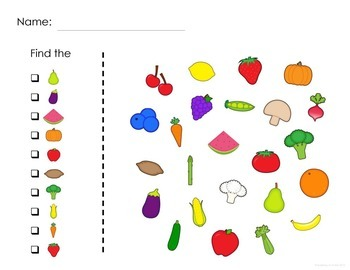 Fruits and Vegetables Find It Game: 3 levels of difficulty