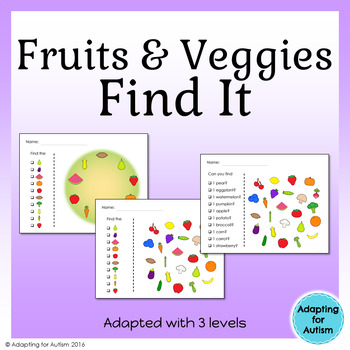Fruits and Vegetables I Spy Game: 3 levels of difficulty