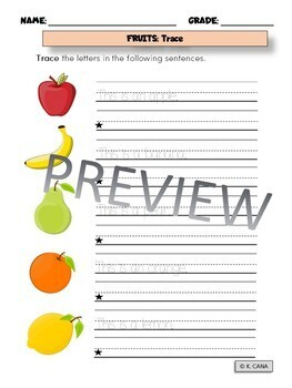 Fruits and Vegetables Word Work/Vocabulary Activities 3