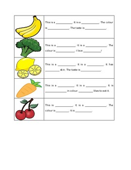 Fruits and vegetable writing practice