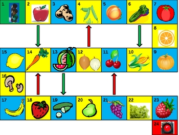 Fruits and Vegetables Game board power point version