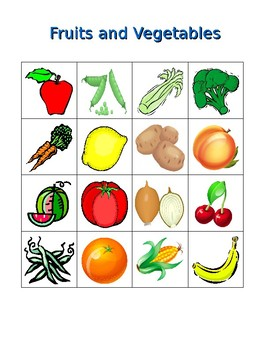 Fruits and vegetables in English Bingo game