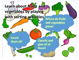 Fruits and vegetables sorting activities