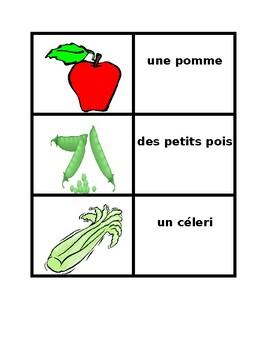 Fruits et Légumes (Fruits and Vegetables) Vocabulary Concentration games