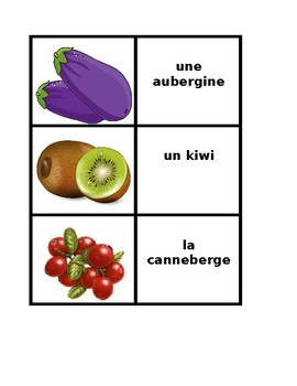 Fruits et Légumes (Fruits and Vegetables in French) Concentration games