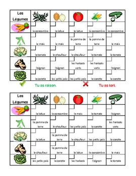 Fruits et Légumes (Fruits and Vegetables in French) Grid vocabulary activity