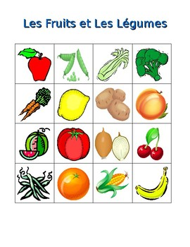 fruits et l gumes fruits and vegetables in french bingo game by jer. Black Bedroom Furniture Sets. Home Design Ideas