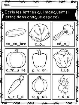 Fruits et légumes - Cahier d'activités - French fruits and vegetables activities