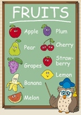 Fruits in Cartoon Shape & style with names, High Resolutio