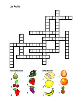 Fruits in French Crossword