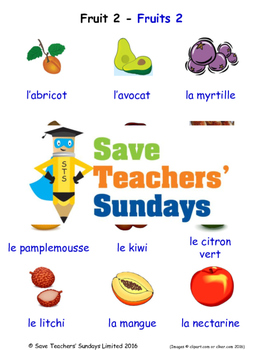 Fruits in French Worksheets, Games, Activities and Flash Cards (2)
