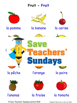 Fruits in French Worksheets, Games, Activities and Flash Cards