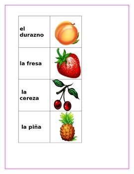 Fruits in Spanish Las frutas From my desk to yours two memory games