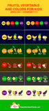 Fruits, vegetable and colors flash cards - in Chinese and