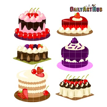 Fruity Cakes Collage Clip Art - Great for Art Class Projects!