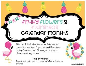 Fruity Flowers and Flamingos CALENDAR MONTHS