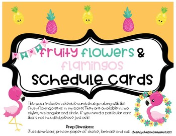 Fruity Flowers and Flamingos SCHEDULE CARDS