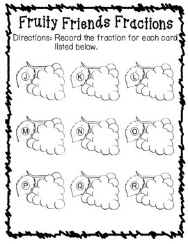 Fruity Friends Fractions - Identifying Fractions Grades 3,4,5