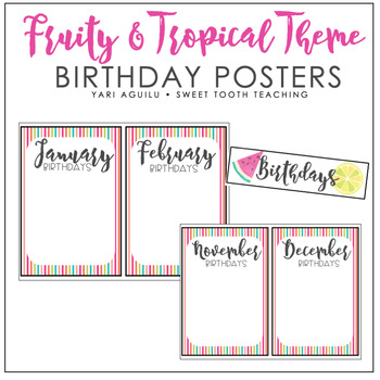 Fruity & Tropical Theme Birthday Posters