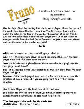 Fruno #8 A Sight Word Game