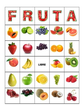 Fruta / Fruit Bingo - Español / Spanish - 30 Cards