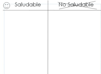 Fruta o Verdura Lista/ Saludable vs. No Saludable