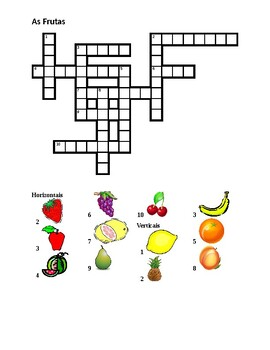 Frutas (Fruit in Portuguese) Crossword