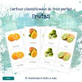 Frutas - Montessori 3 part cards in Portuguese