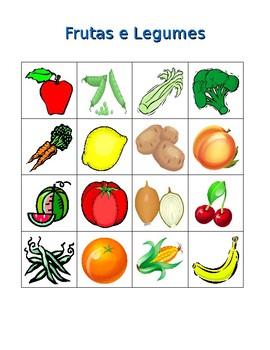 Frutas e verduras (Fruits and Vegetables in Portuguese) Bingo game