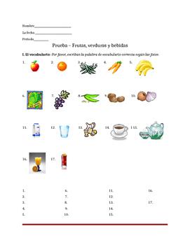 Frutas, verduras y bebidas