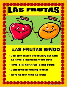 Frutas y Colores - BINGO-Review Colors/Gender/Nouns- Fruits in Spanish