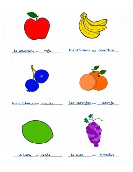 Frutas y Colores - Fruits and Colors in Spanish Worksheet