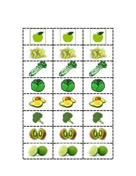 Frutas y Legumbres Verdes- Green fruits and vegetables in Spanish- San Patricio